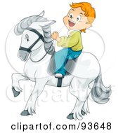 Royalty Free RF Clipart Illustration Of A Little Boy Riding A Majestic White Horse