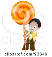 Royalty Free RF Clipart Illustration Of A Little Boy Holding Up A Giant Orange Sucker