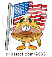 Clipart Picture Of A Hard Hat Mascot Cartoon Character Pledging Allegiance To An American Flag by Toons4Biz
