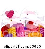 Heart Hot Air Balloon Over Urban Buildings Against A Cloudy White Sky