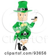Jolly Leprechaun Leaning On A Cane And Smoking A Pipe