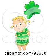 Royalty Free RF Clipart Illustration Of A Cute Little Girl Wearing A Green Dress And Standing With A Clover Balloon