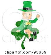 Royalty Free RF Clipart Illustration Of A Friendly Leprechaun Waving And Sitting On A Clover by BNP Design Studio