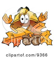 Clipart Picture Of A Hard Hat Mascot Cartoon Character With Autumn Leaves And Acorns In The Fall by Toons4Biz