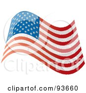 Royalty Free RF Clipart Illustration Of A Grungy Distressed Wavy USA Flag by michaeltravers