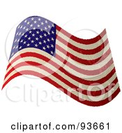 Royalty Free RF Clipart Illustration Of A Grungy Distressed Waving USA Flag by michaeltravers
