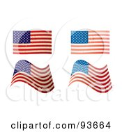 Digital Collage Of Four Distressed And Faded USA Flags by michaeltravers