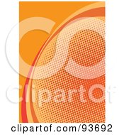 Royalty Free RF Clipart Illustration Of A Vertical Orange Halftone Curve Background by michaeltravers