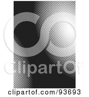 Royalty Free RF Clipart Illustration Of A Black Background With White Halftone Curves by michaeltravers