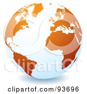 Royalty Free RF Clipart Illustration Of A White Globe With Orange Continents Centered On The Atlantic by michaeltravers