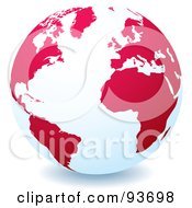 Royalty Free RF Clipart Illustration Of A White Globe With Red Or Pink Continents Centered On The Atlantic