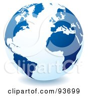 Royalty Free RF Clipart Illustration Of A White Globe With Dark Blue Continents Centered On The Atlantic by michaeltravers