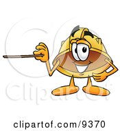 Clipart Picture Of A Hard Hat Mascot Cartoon Character Holding A Pointer Stick by Toons4Biz
