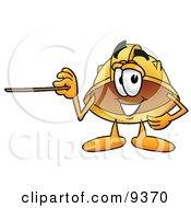 Hard Hat Mascot Cartoon Character Holding A Pointer Stick