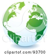 Royalty Free RF Clipart Illustration Of A White Globe With Green Continents Centered On The Atlantic by michaeltravers