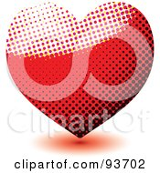 Royalty Free RF Clipart Illustration Of A Red And Black Heart Made Of Halftone Dots by michaeltravers