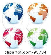 Royalty Free RF Clipart Illustration Of A Digital Collage Of White Globes With Blue Orange Red And Green Continents Centered On The Atlantic