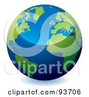 Royalty Free RF Clipart Illustration Of A Reflective Blue Globe With Green Continents Centered On The Atlantic