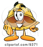 Clipart Picture Of A Hard Hat Mascot Cartoon Character Pointing At The Viewer by Toons4Biz