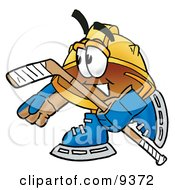 Clipart Picture Of A Hard Hat Mascot Cartoon Character Playing Ice Hockey by Toons4Biz