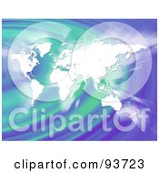 Royalty Free RF Clipart Illustration Of A Glowing White World Map Over Green And Purple Ripples