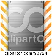 Blank Brushed Metal Plaque Over Orange And White Hazard Stripes