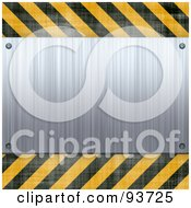 Blank Brushed Metal Plaque Over Yellow And Black Hazard Stripes