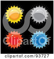 Royalty Free RF Clipart Illustration Of A Digital Collage Of Four Colorful Sun Shaped Burst Seals On Black by Arena Creative