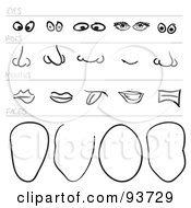 Royalty Free RF Clipart Illustration Of A Digital Collage Of Sketched Face Parts by Arena Creative