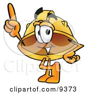 Clipart Picture Of A Hard Hat Mascot Cartoon Character Pointing Upwards by Toons4Biz