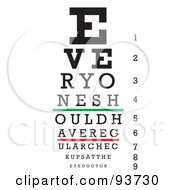Black Green And Red Eye Chart For Checkups On White