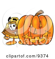 Clipart Picture Of A Hard Hat Mascot Cartoon Character With A Carved Halloween Pumpkin