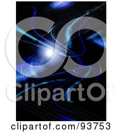 Royalty Free Clipart Illustration Of A Black Background With Blue Fractal Swooshes And Binary Coding