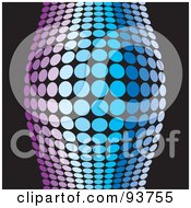 Royalty Free Clipart Illustration Of A Bulging Purple And Blue Halftone Wave Over Black