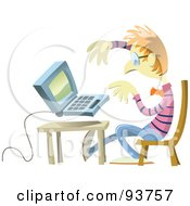 Royalty-Free (RF) Clipart Illustration of a Nerdy Guy Working On A Laptop At A Table by Frisko