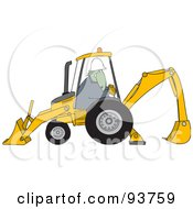 Royalty Free RF Clipart Illustration Of A Construction Dinosaur Operating A Yellow Backhoe by Dennis Cox