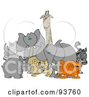 Royalty Free RF Clipart Illustration Of Two African Elephants With A Tiger Zebra Lion Hippo Rhino And Giraffe