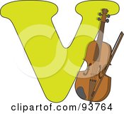 Royalty Free RF Clipart Illustration Of A V Is For Violin Learn The Alphabet Scene by Maria Bell