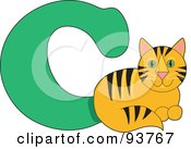 Royalty Free RF Clipart Illustration Of A C Is For Cat Learn The Alphabet Scene by Maria Bell