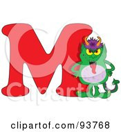 Royalty Free RF Clipart Illustration Of A M Is For Monster Learn The Alphabet Scene by Maria Bell