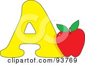 Royalty Free RF Clipart Illustration Of An A Is For Apple Learn The Alphabet Scene by Maria Bell