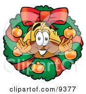 Hard Hat Mascot Cartoon Character In The Center Of A Christmas Wreath
