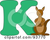 Royalty Free RF Clipart Illustration Of A K Is For Kangaroo Learn The Alphabet Scene by Maria Bell