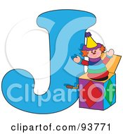 Royalty Free RF Clipart Illustration Of A J Is For Jack In The Box Learn The Alphabet Scene by Maria Bell