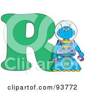 Royalty Free RF Clipart Illustration Of A R Is For Robot Learn The Alphabet Scene by Maria Bell
