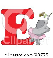 Royalty Free RF Clipart Illustration Of An E Is For Elephant Learn The Alphabet Scene by Maria Bell