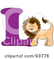 Royalty Free RF Clipart Illustration Of A L Is For Lion Learn The Alphabet Scene by Maria Bell