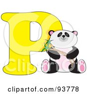 Royalty Free RF Clipart Illustration Of A P Is For Panda Learn The Alphabet Scene by Maria Bell