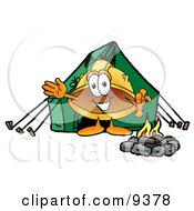 Hard Hat Mascot Cartoon Character Camping With A Tent And Fire