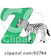 Royalty Free RF Clipart Illustration Of A Z Is For Zebra Learn The Alphabet Scene by Maria Bell
